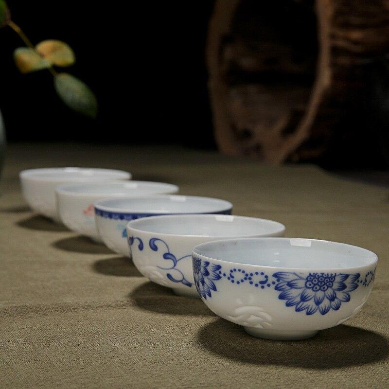 Hollow 6pcs Ceramic tea cup porcelain teacup Kungfu tea set Handmade painted drawn Small tea bowl for Ceremony home decoration