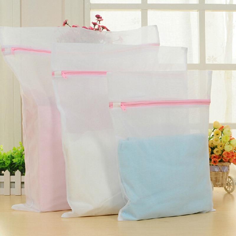 Polyester Laundry Washing Machine Net Mesh Bag Zipped Underwear Clothes Aid Bra Socks