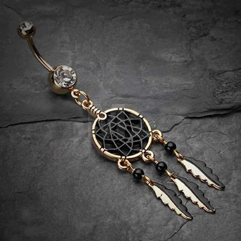 Moda 4 style Dreamcatcher Tassel Chain dynda pierścionki na pępek Bar chirurgiczne Sexy biżuteria do ciała Sexy kobiety Piercing Ombligo