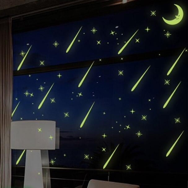 Модные красивые световой метеорный поток украшения дома стикер люминесцентные луны и звезд Светящиеся в темноте Windows Art Decor