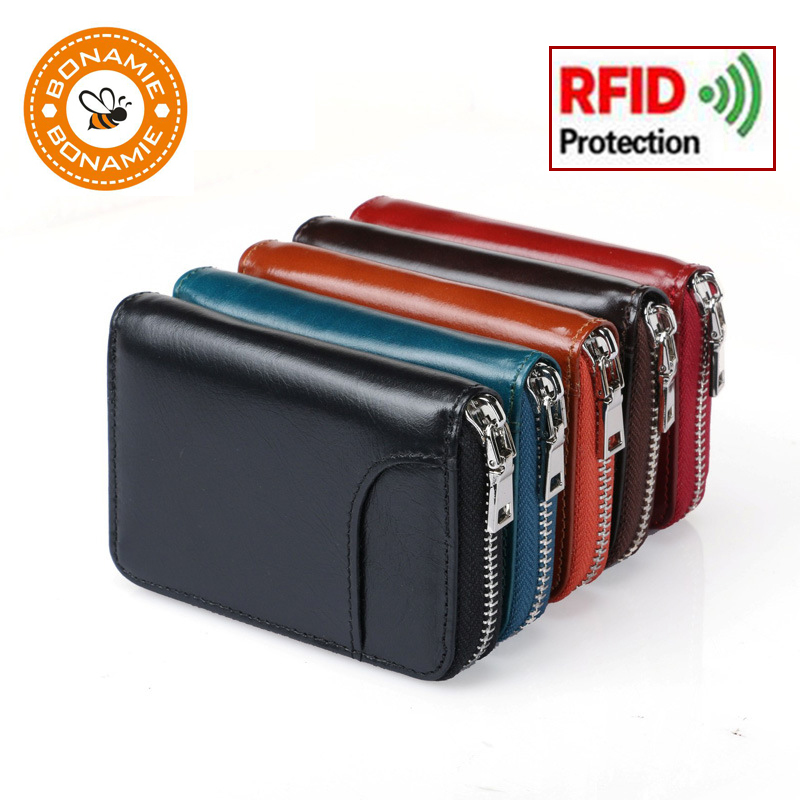 BONAMIE Credit Card Holder Genuine Leather Function Card Case Business Card Holder Men Women  Card ID Wallet RFID Blocking Black