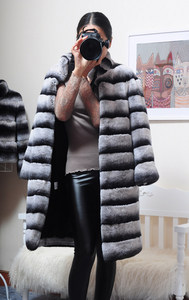 Image 5 - OFTBUY 2020 Luxury Witner Jacket Women Real Fur Coat Natural Rex Rabbit Fur Outerwear Striped Thick Warm Stand Collar Streetwear