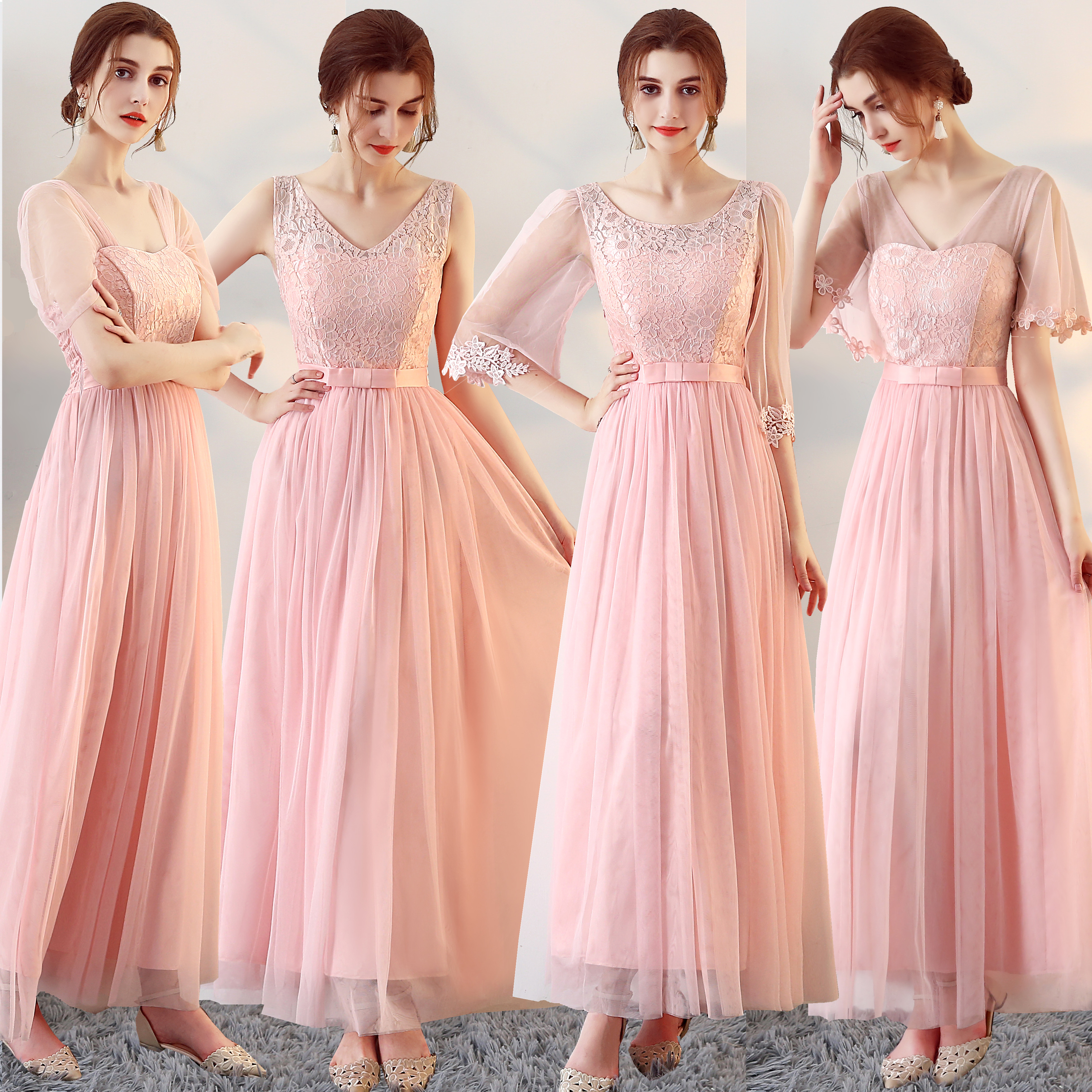Long Pink Bridesmaid Dresses A-Line V-Neck Homecoming Prom Wedding Party Dress SW0025