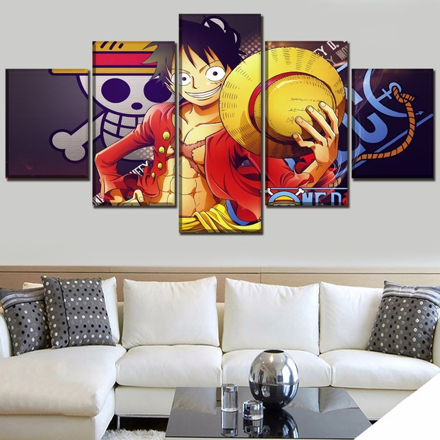 5 Panel Monkey D. Luffy Anime One Piece Poster Canvas Painting
