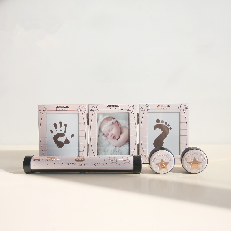 Bébé naissance anniversaire ensemble mains et pieds imprime dent boîte curl boîte certificat titulaire bébé anniversaire souvenir cadeaux