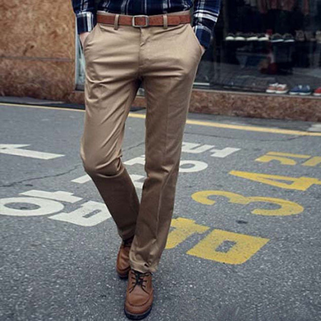 Nuevos hombres de la primavera Formal diseño moda Solid rectas delgadas para hombre flaco pantalones largos más los pantalones tamaño masculinas de las mujeres Y067