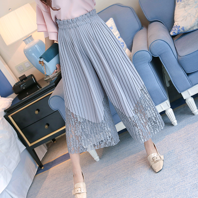 New Spring Summer Chiffon Spliced Lace Wide Leg Pants Women OL Pleated Chiffon Trousers Elegant High Waist Female Leggings Mw197 4