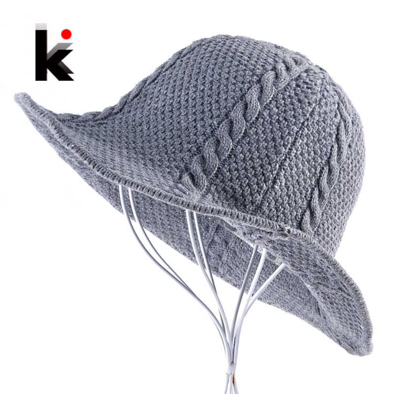 Autumn And Winter Knitted Wool Sun Cap For Men Women foldable Solid Color Floppy Hat Unisex Outdoor Casual knit Visor Sun hats