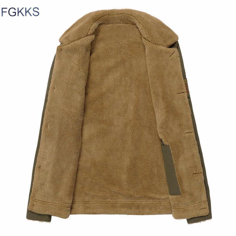 FGKKS 2018 男性ジャケットコート冬軍事爆撃機ジャケット男性 Jaqueta Masculina ファッションデニムジャケットメンズコート