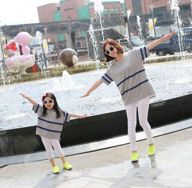 Camisetas família pai filho roupas coreano camisetas soltas para mãe e filha MS05