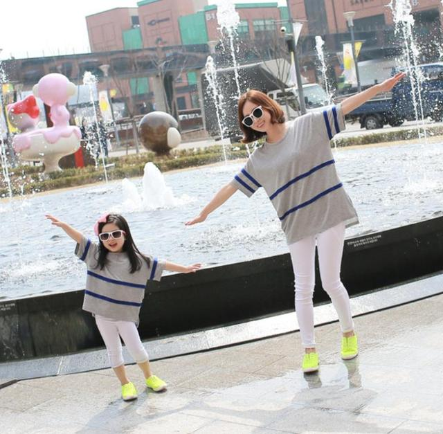 family T-shirts parent-child clothes Korean Loose T-shirts for mother and daughter, MS05