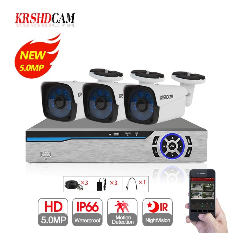4CH CCTV Sistema di 5.0MP AHD DVR 3 pz 5.0MP AHD Fotocamera 2592*1944 Impermeabile di IR Outdoor Telecamere di Sicurezza A Casa video di Sorveglianza kit