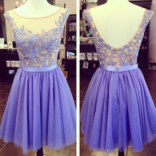 2017 High Quality Sexy Mini Homecoming Dresses Custom Made Cap Sleeve Appliqued Tulle Short Prom Dresses