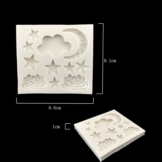 Aouke Star Moon Shape Silicone Mould DIY Fondant Cake Mold Gummy Chocolate Mold Baking Appliance