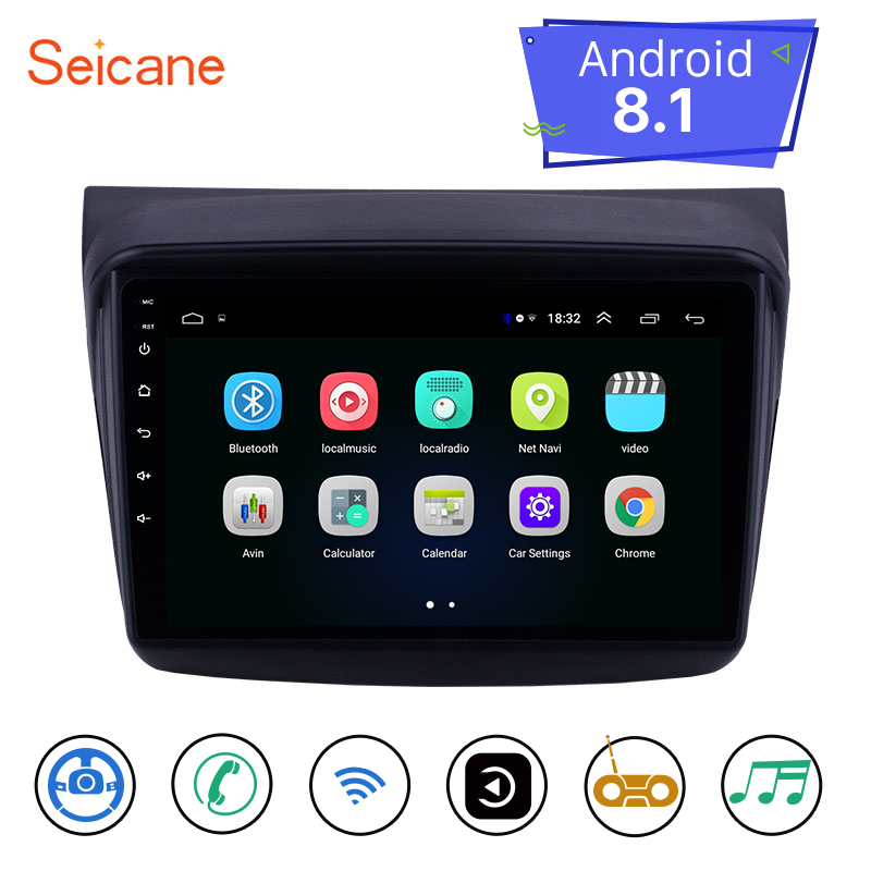 Seicane 9 pouces Android 8.1 2din voiture GPS unité de tête lecteur stéréo pour Mitsubishi Pajero Sport/L200/2006 + Triton/2008 + PAJERO 2010