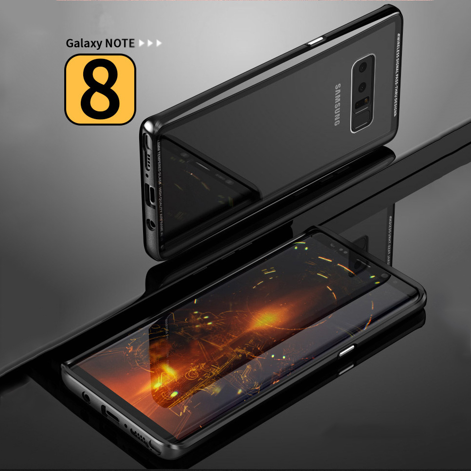 2018 Tempered Glass Frame Bumper For Samsung Galaxy Note 8 Case Aluminum Metal Frame Case For Note 8 Prime protect phone Case 2018 Tempered Glass Frame Bumper For Samsung Galaxy Note 8 Case Aluminum Metal Frame Case For Note 8 Prime protect phone Case