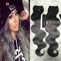 BQ HAIR 8A Indian Ombre Weave 1B/Grey Human Braiding Hair Bulk 3 Bundles Ombre Hair Extensions Body Wave Tissage Cheveux Humain