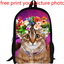 3d custom kitten bag free design print picture photo backpack fresh cute sweet girl customized school student