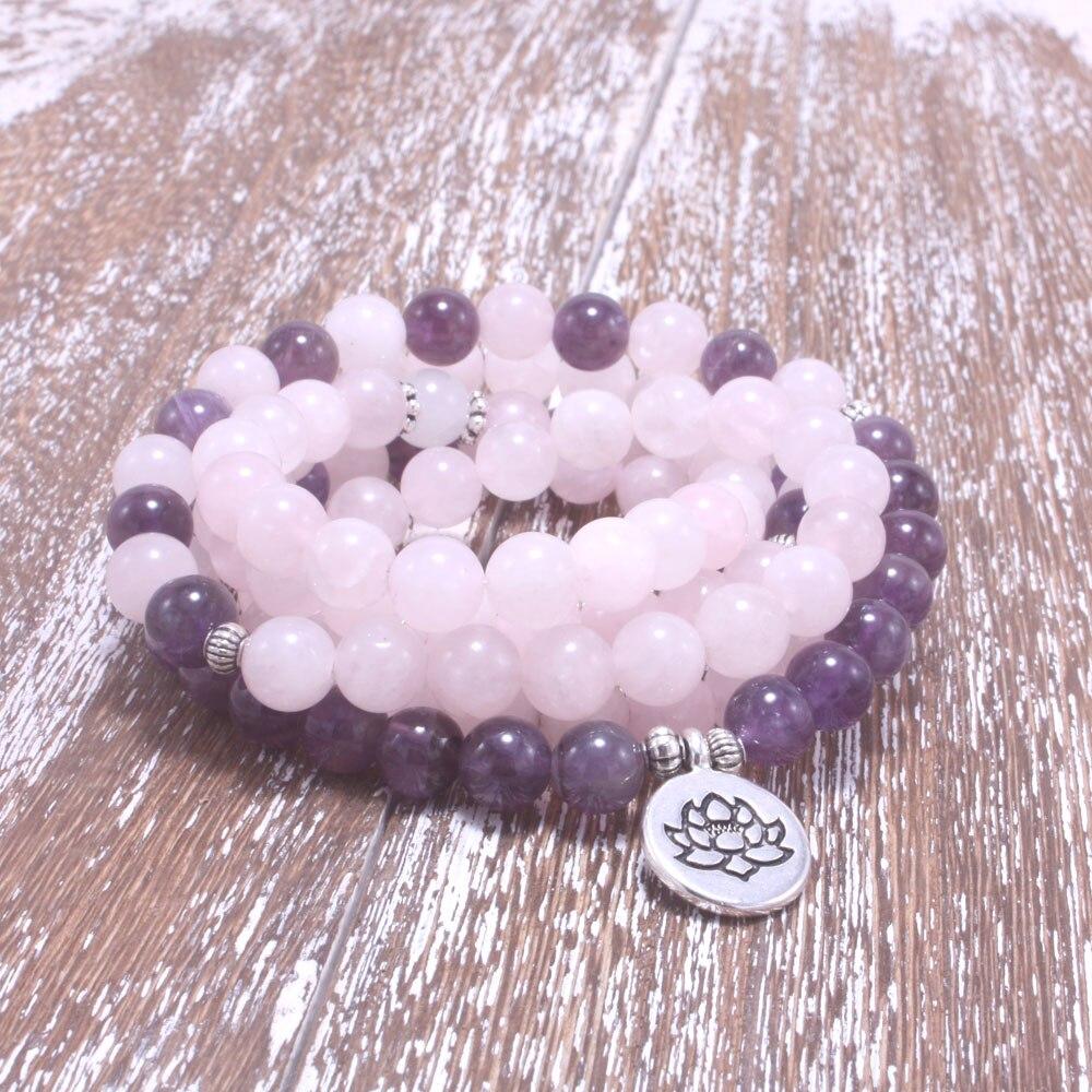 8mm Piedra Natural mala rosa, cristal violeta, loto, OM, buda pulsera de encanto para las mujeres yoga joyería
