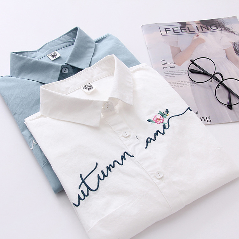 FEKEHA White 100% Cotton Women School   Shirt   Letter Floral Embroidery Blue Tops Ladies   Blouses   Long Sleeve Female Office   Shirt