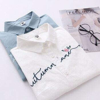 FEKEHA blanc 100% coton femmes école chemise lettre Floral broderie bleu hauts dames Blouses à manches longues femme bureau chemise