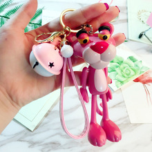Cartoon Cute Animal Anime Pink Panther Keychain Rabbit Fur Ball Pom Pom Key Rings Bells Key Chains Women Car Bag Charms Pendant цена 2017