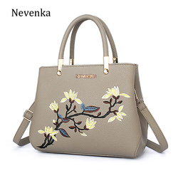 Nevenka women bag zipper embroidery flower tote three layer bag ladies evening strap bags solid color.jpg 250x250