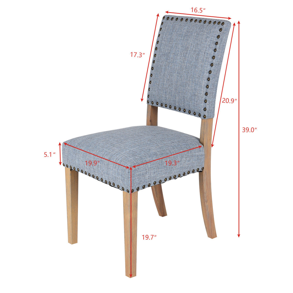 Giantex Set Of 2pcs Fabric Dining Chairs With Rubber Wood Legs Home Kitchen Furniture Modern Rivets Leisure Hw56716 In From