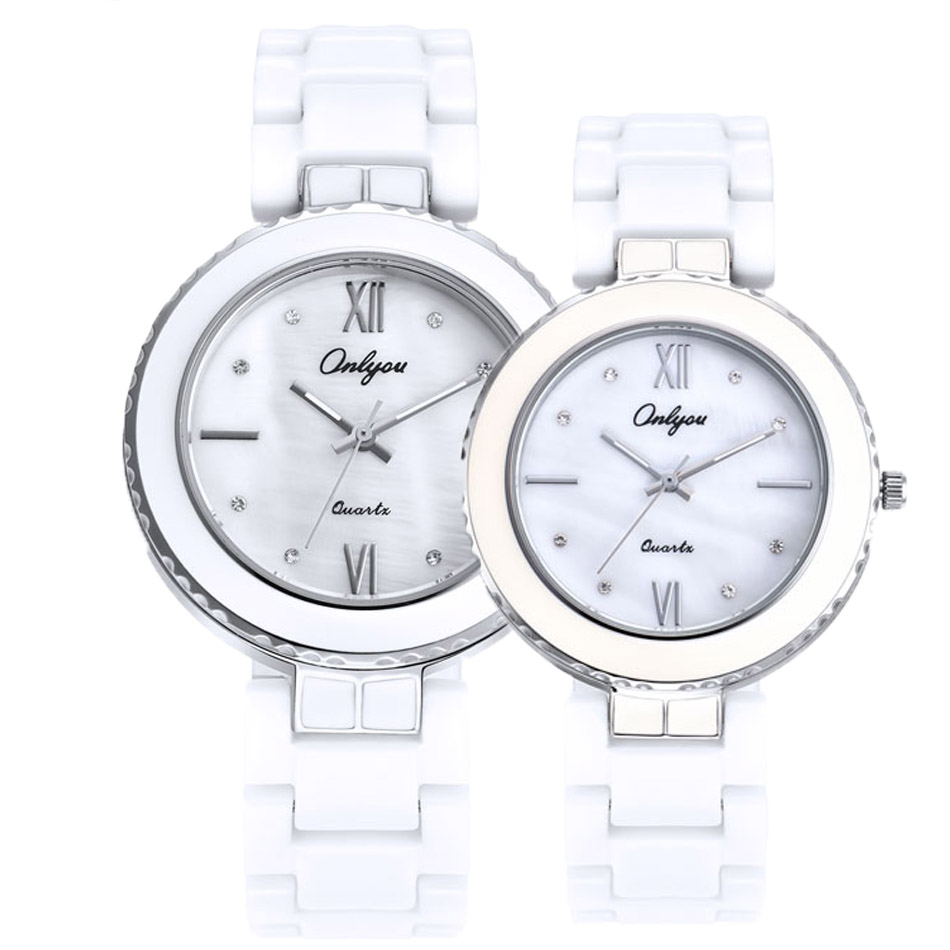 ONLYOU New Watch Women Top Fashion Brand Female Casual Clock Diamond quartz white Ceramic couples Trend Style Waterproof Quartz onlyou women top brand fashion watch super slim quartz waterproof wristwatch females casual fabric gift watces wholesale