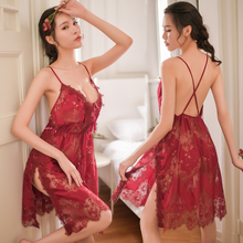 Hoyyezen new sexy lace underwear side slit sling hollow perspective womens nightdress set 5 colors sleepwear
