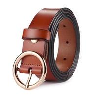Brown Coffee Geunine Cow Skin Leather Women Belt Slim Round Buckle Jean Belt Strap Pure Color