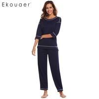 Ekouaer Women Casual Sleepwear Pajamas 3 4 Sleeve Contrast Color T Shirt Top And Long Pants