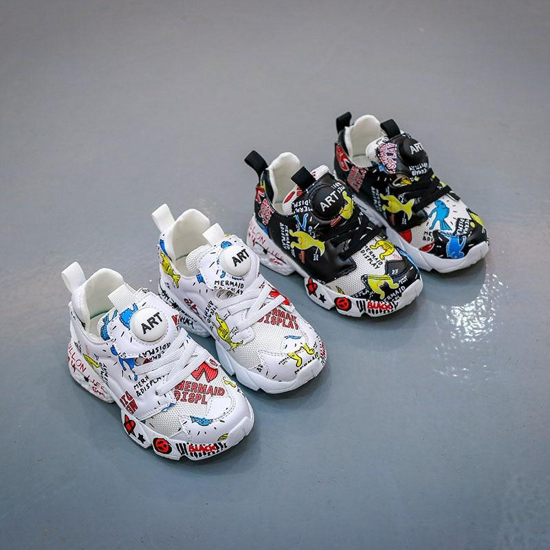 2019 printemps nouvelles chaussures pour enfants 4-6-12 ans garçons et filles impression de la personnalité des grands enfants fond doux confortable