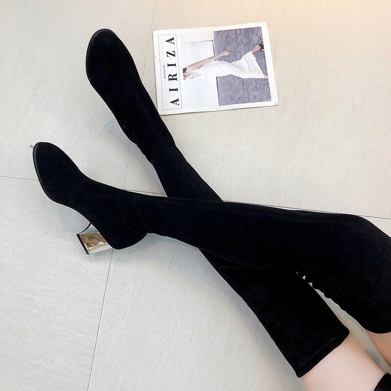 Taille 35-43 hiver sur le genou bottes femmes Stretch tissu femmes cuisse haute Sexy femme chaussures longue Bota Feminina
