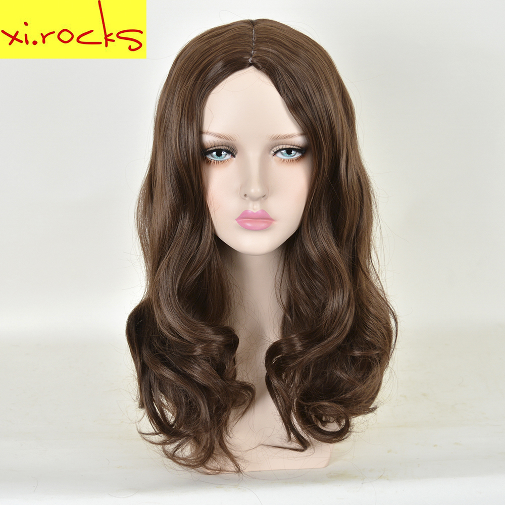 Xi.rocks Cosplay Long Wavy Synthetic Wig Super Hero Scarlet Witch Brown Hair Heat Resistant Wigs For Adult And Children ...