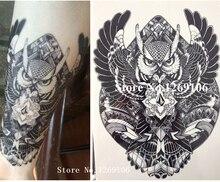21 X 15 CM BIG BLACK OWL Body Art Decal Waterproof Tattoo #119