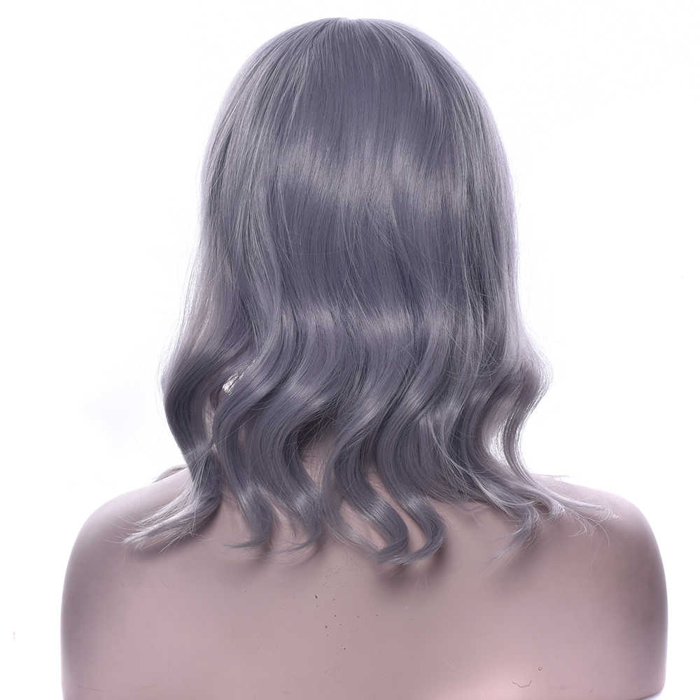 Soowee Synthetic Hair Curly Gray Hair Wig Heat Resistance Fiber Brown Black White Party Hair Cosplay Wigs for Women