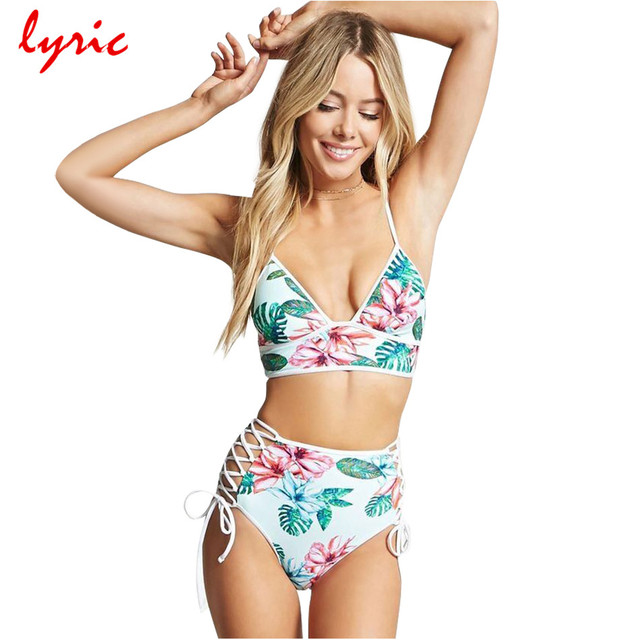 654bce3351aad lyric Floral High Waist Bikini Set White Strappy Bathing Suit Hollow Out  Lace-up High Cut Bottom Halter Top Women Sexy Swimwear
