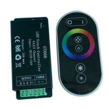 Wholesale 1 pcs DC12-24V 6Ax3channel Max 18A RGB controller GT666 Touch led dimmer for 5050 RGB led strip lights free shipping цена