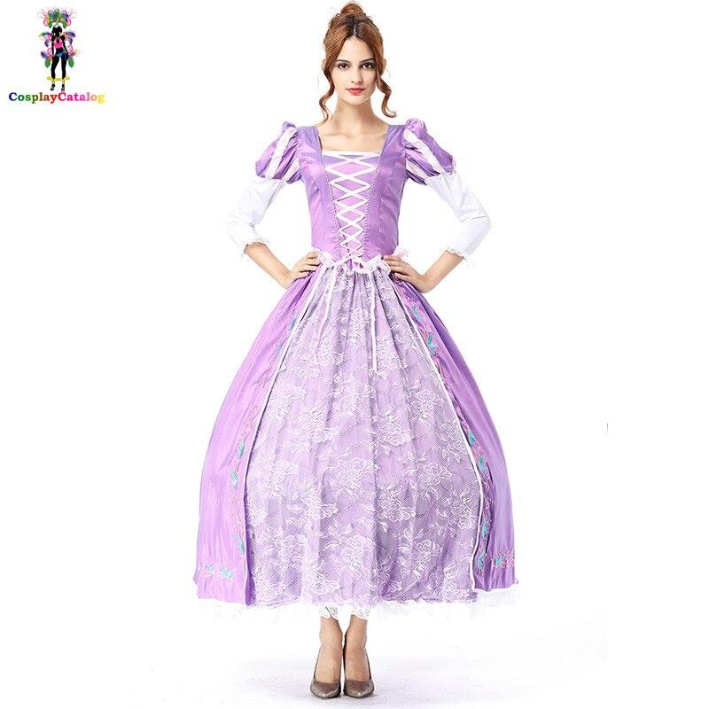 Elegant Luxury Beautiful Princess Dresses Fairytale Purple Halloween Costumes Party Fancy Adult Women Sexy dress with petticoat