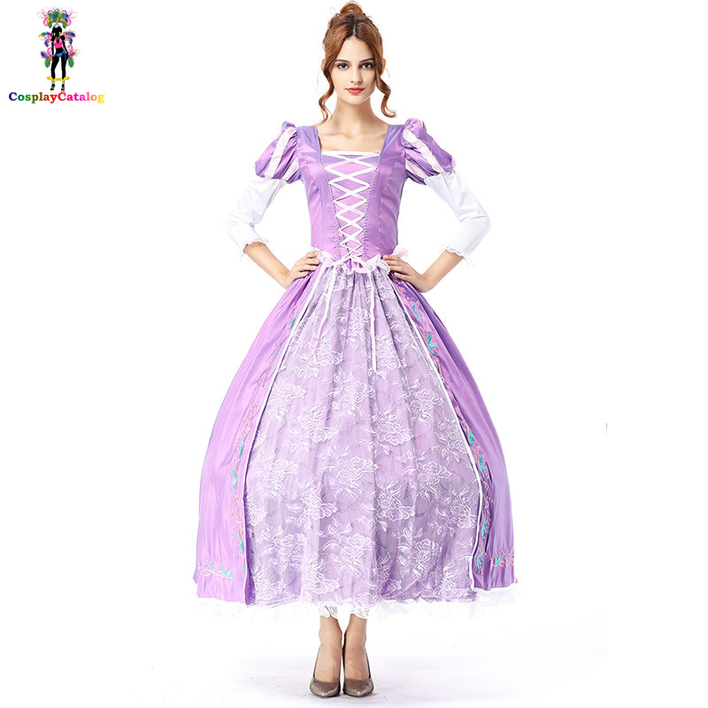 Elegant Luxury Beautiful Princess <font><b>Dresses</b></font> Fairytale Purple <font><b>Halloween</b></font> Costumes Party Fancy Adult Women <font><b>Sexy</b></font> <font><b>dress</b></font> with petticoat image
