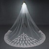 Wedding accessories 2019 new lace ivory 3M wedding veil cheap bride veil beautiful veu de noiva longo fast delivery