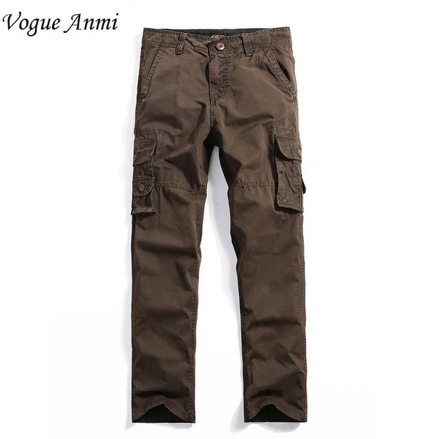 2016 Marca Para Hombre Militar Pantalones Cargo Ejército multi-bolsillos Holgados Pantalones De Los Hombres Pantalones Casuales Overoles Pantalones Más El Tamaño 30-40