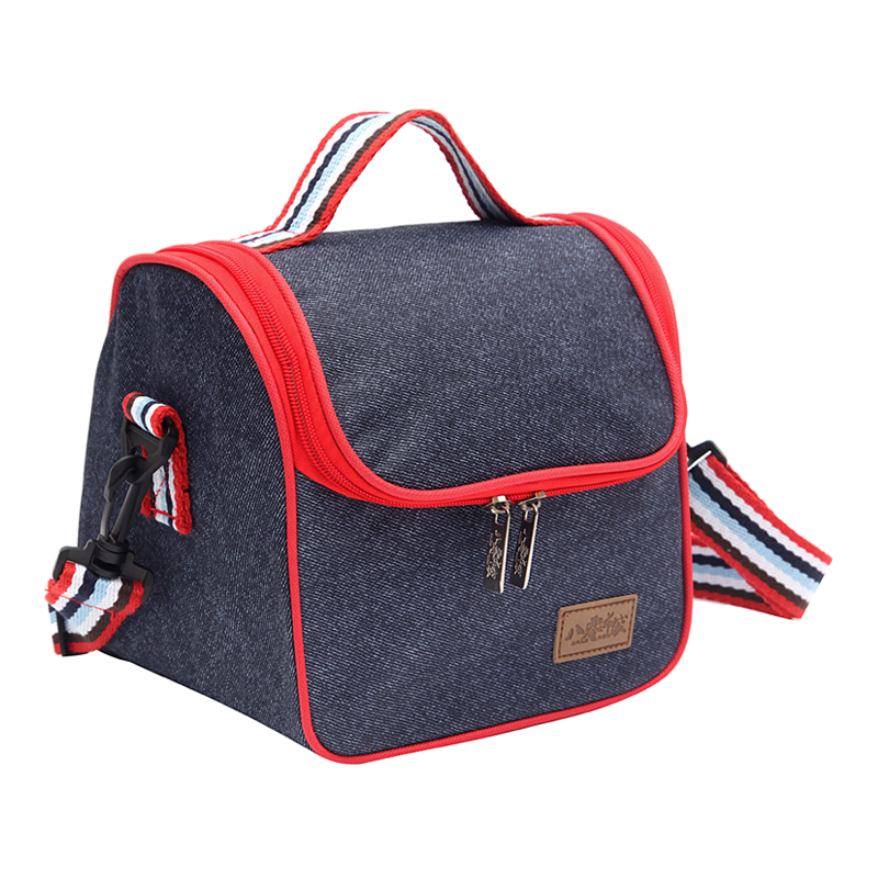 цена Denim Shoulder Lunch Bag For Women Kid Picnic Bento Box Insulated Pack Drink Food Thermal Ice Cooler Leisure Accessories Stuff