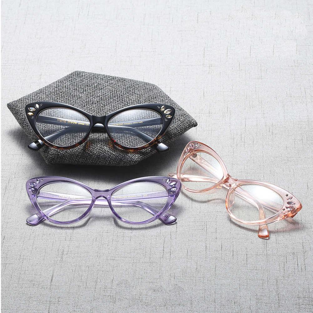 bf43cbd2f ... Kachawoo Wholesale 6pcs Cat Eye Eyeglasses For Women Optical Brown  Purple Sexy Ladies Glasses Frame Rhinestones ...