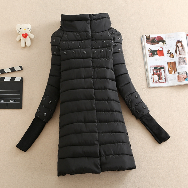 2017 NEW HOT WOMEN WINTER JACKER MID-LENGTH STAND COLLAR THICK WARM FEMALE PARKAS COTTON WADDED DIAMONDS WOOL SLEEVES COAT ZL655
