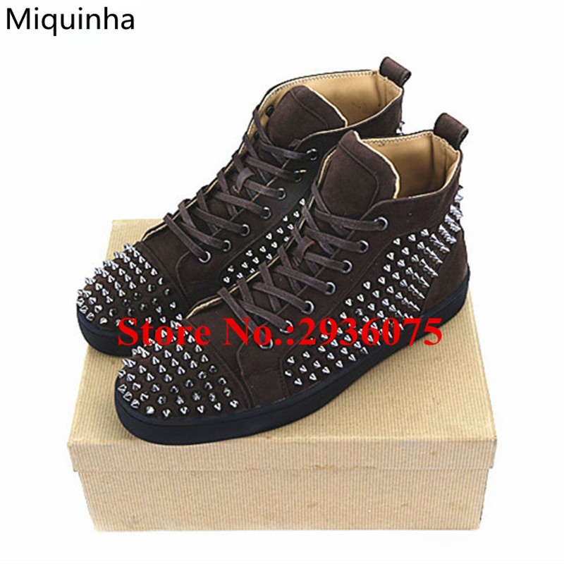 Fashion Zapatos Hombre Suede Leather High Top Lace Up Flat Casual Men Shoes Spikes Studded Trainers Zapatillas Deportivas Hombre 2017 new summer breathable men casual shoes autumn fashion men trainers shoes men s lace up zapatillas deportivas 36 45