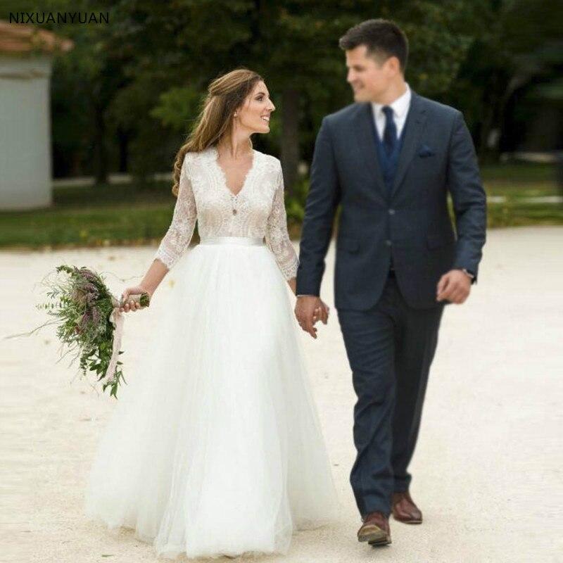 Vestido De Noiva Simple V Neck Beach Wedding Dress With Lace Sleeve Bridal Gowns Plus Size Low Back Robe De Mariee