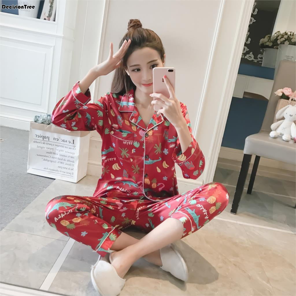 2019 new women silk pajama sets elegant flower print sleepwear women
