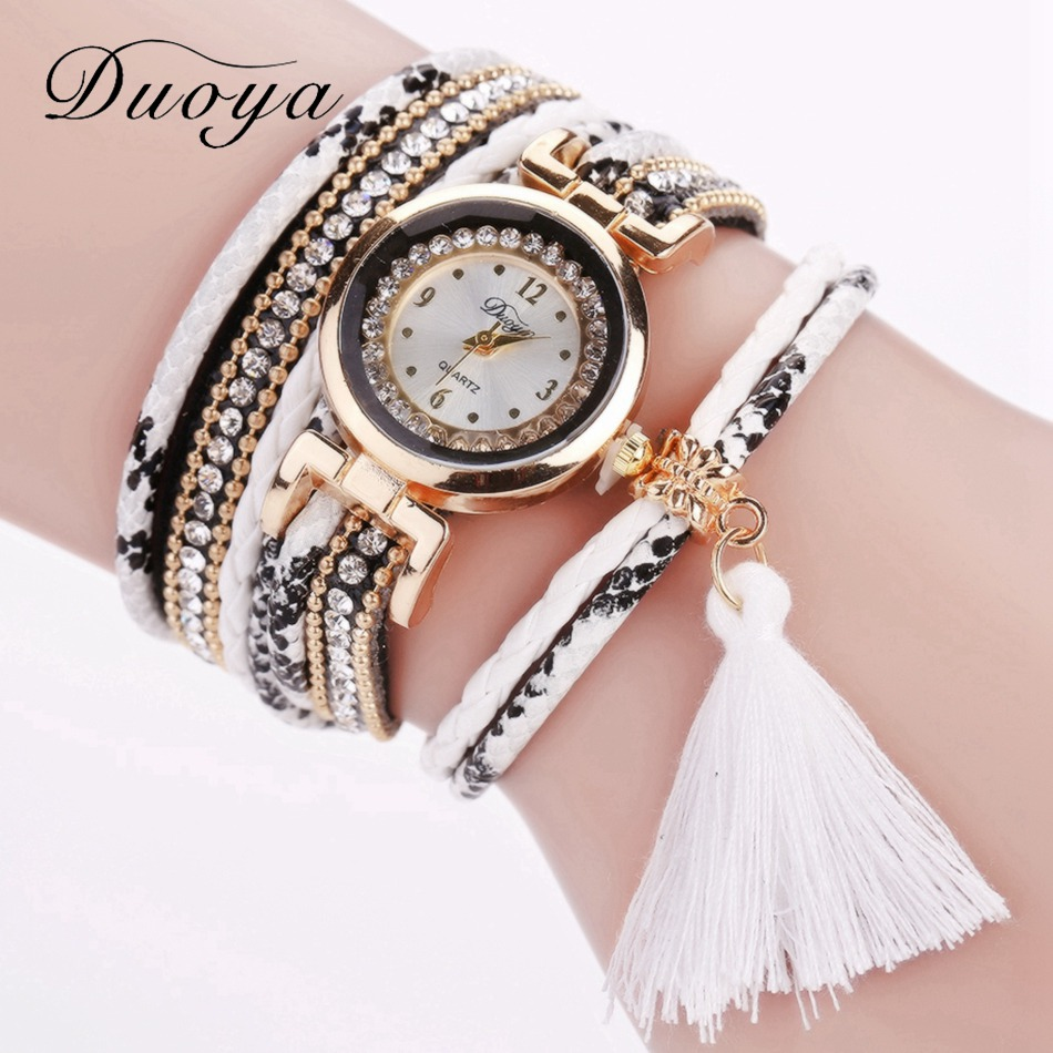 Duoya Women Brand Snake Leather Watch For Women Luxury Gold Braid Bracelet Wristwatch Ladies Luxury Quartz Watch Dropshipping duoya brand bracelet watches for women luxury gold crystal fashion quartz wristwatch clock ladies vintage watch dropshipping
